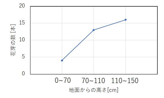 新芽の数と高さの関係グラフ