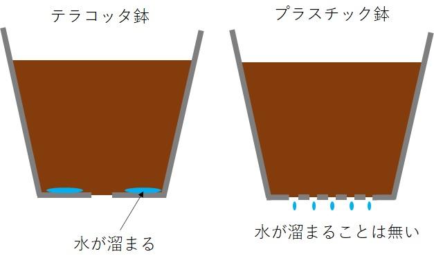 テラコッタ鉢とプラスチック鉢の底の違い